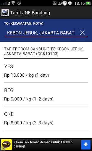 Tarif JNE Bandung