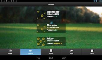 Screenshot of Melbourne Pollen Count