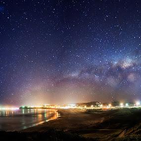 Kiama under the Milkyway by Chris Gonzalez - Landscapes Starscapes ( milkyway, stars, ocean, cityscape, beach )
