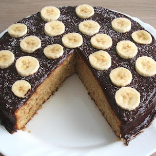 Banana Cake Topped With Chocolate