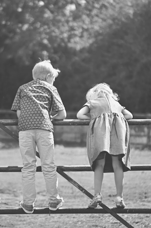 Horse gate by Melanie Pista - Babies & Children Children Candids ( field, black and white, faded, siblings, gate )