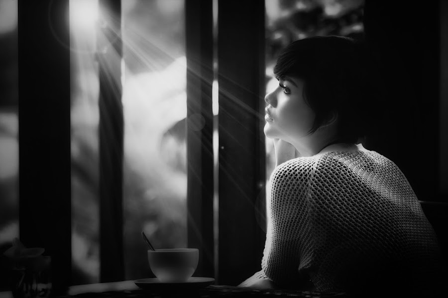 Right Here Waiting by Hartono Cen - Black & White Portraits & People