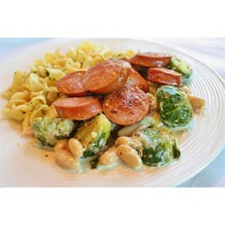 Kielbasa with Brussels Sprouts in Mustard Cream Sauce.