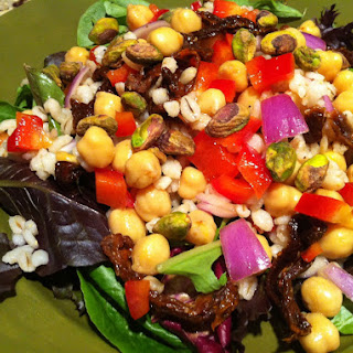 Salad Greens with Barley and Chickpeas
