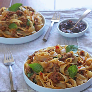 Spicy Thai Noodles with Pork, Basil and Mint.