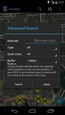 Rail Crossing Locator - screenshot