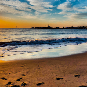 Footprints in the sand by Stephen Fouche - Landscapes Sunsets & Sunrises