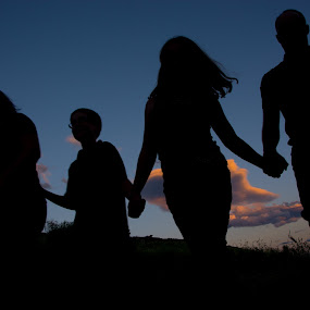 Hand In Hand  by RaeLynn Petrovich - People Family ( love, field, sky, sunset, silhouette, family, summer )