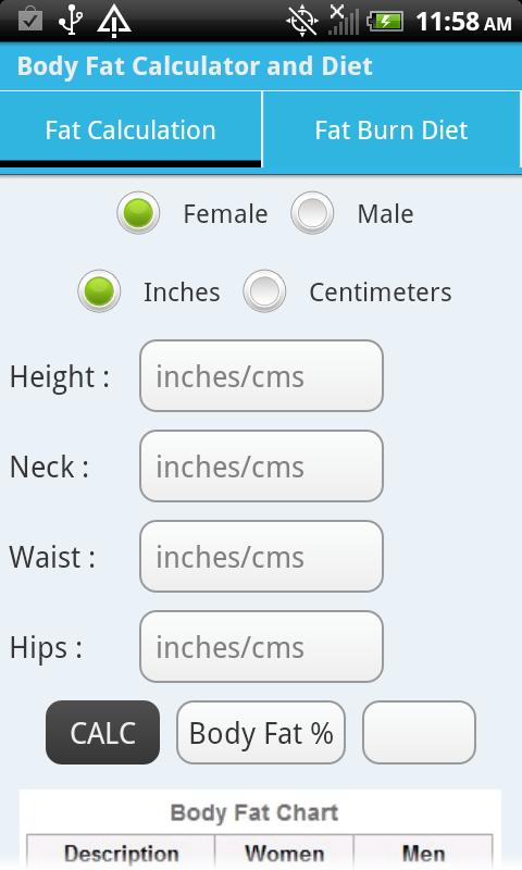 Body Fat Calculator & Diet - screenshot