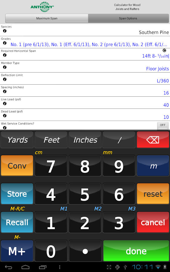Anthony lumber span calculator android apps on google play for Lumber calculator for house