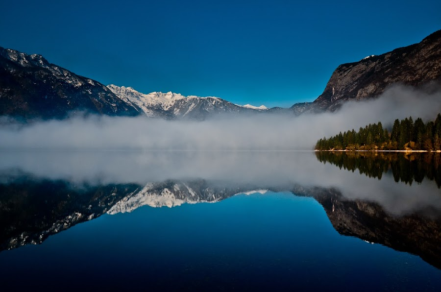 Morning fog at the lake Bohinj by Gregor Skoberne - Landscapes Waterscapes ( mountains, reflection, nature, slovenia, lake, places, landscapes, bohinj,  )