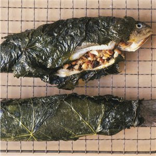Stuffed Trout Wrapped in Grape Leaves