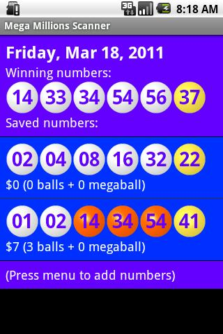 Mega Millions Scanner - screenshot
