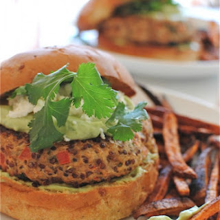 Chicken-Quinoa Burgers with an Avocado-Yogurt Sauce