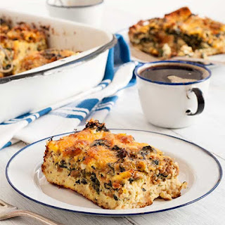 Easy Gluten Free Sausage and Spinach Strata