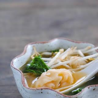 Shrimp Wonton Soup with Kale.