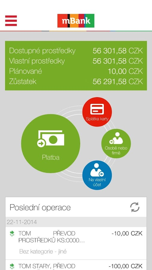 mBank CZ 2.1- screenshot