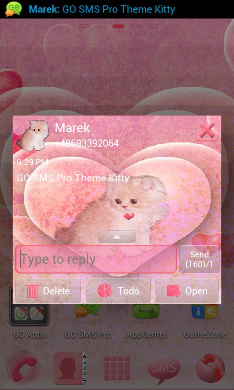 Theme Kitty for GO SMS Pro- screenshot