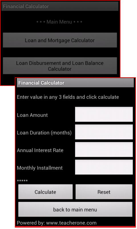 Loan and Mortgage Calculator - screenshot
