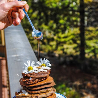 Vegan Cacao Buckwheat Pancakes with Carob Chips.