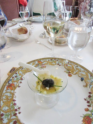 Oceania-Regatta-caviar-Grand-Dining-Room - Caviar served in the Grand Dining Room aboard Oceania Regatta.