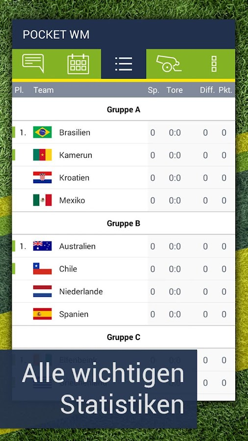 Pocket WM 2014 – Fussball live- screenshot