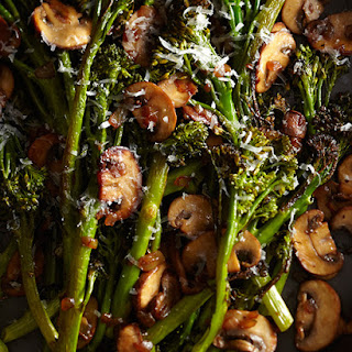 Roasted Broccolini with Winey Mushrooms from Laura Russell's book 'Brassicas'.