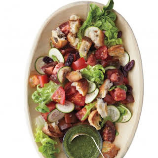 Tomato, Baby-Lettuce, and Olive-Bread Salad.