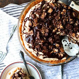 Black Bottom Peanut Butter Snickers Pie