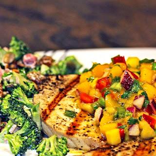 Mango Salsa on Grilled Swordfish