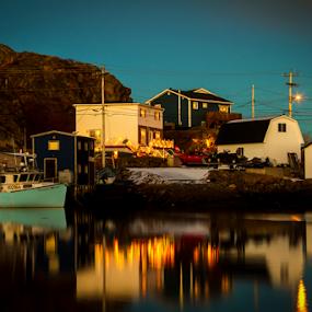 Newfoundland Reflections by Eugene Ball - City,  Street & Park  Neighborhoods ( calm, water, reflection, newfoundland, boats, seascape )