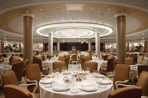 You'll love dining in Oceania Marina's elegant Grand Dining Room under the luminous crystal chandelier.
