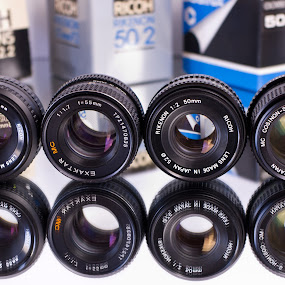 Vitange 50mm lenses by Christian Tiboldi - Artistic Objects Antiques ( lenses, xr, rikenon, 55mm, cosinon-s, 50mm, cosina, lens, 1.7, 2, exaktar, mc, multi coated, cosinon, 1.4,  )