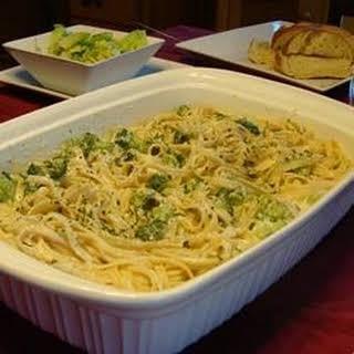 Ricotta Fettuccine Alfredo with Broccoli.
