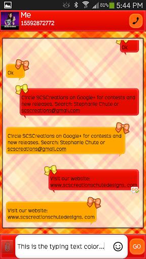 GO SMS - Girly Skulls 7