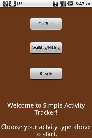 Simple GPS Activity Tracker - screenshot