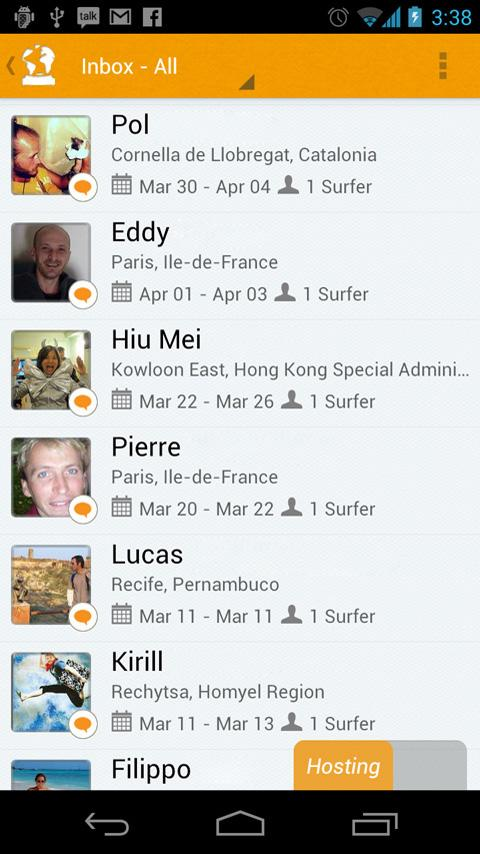 CouchSurfing - screenshot