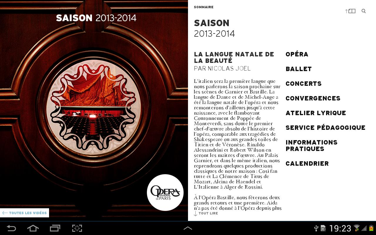 Opéra de Paris, Saison 13/14 - screenshot