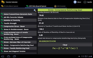 Screenshot of Concrete Calculator Tablet