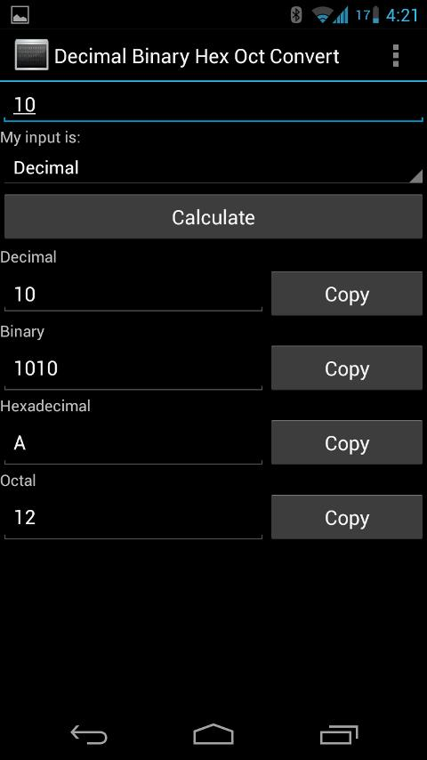 Decimal Binary Hex Oct Convert - screenshot