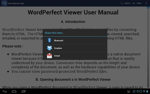 WordPerfect Viewer for Android Screenshot