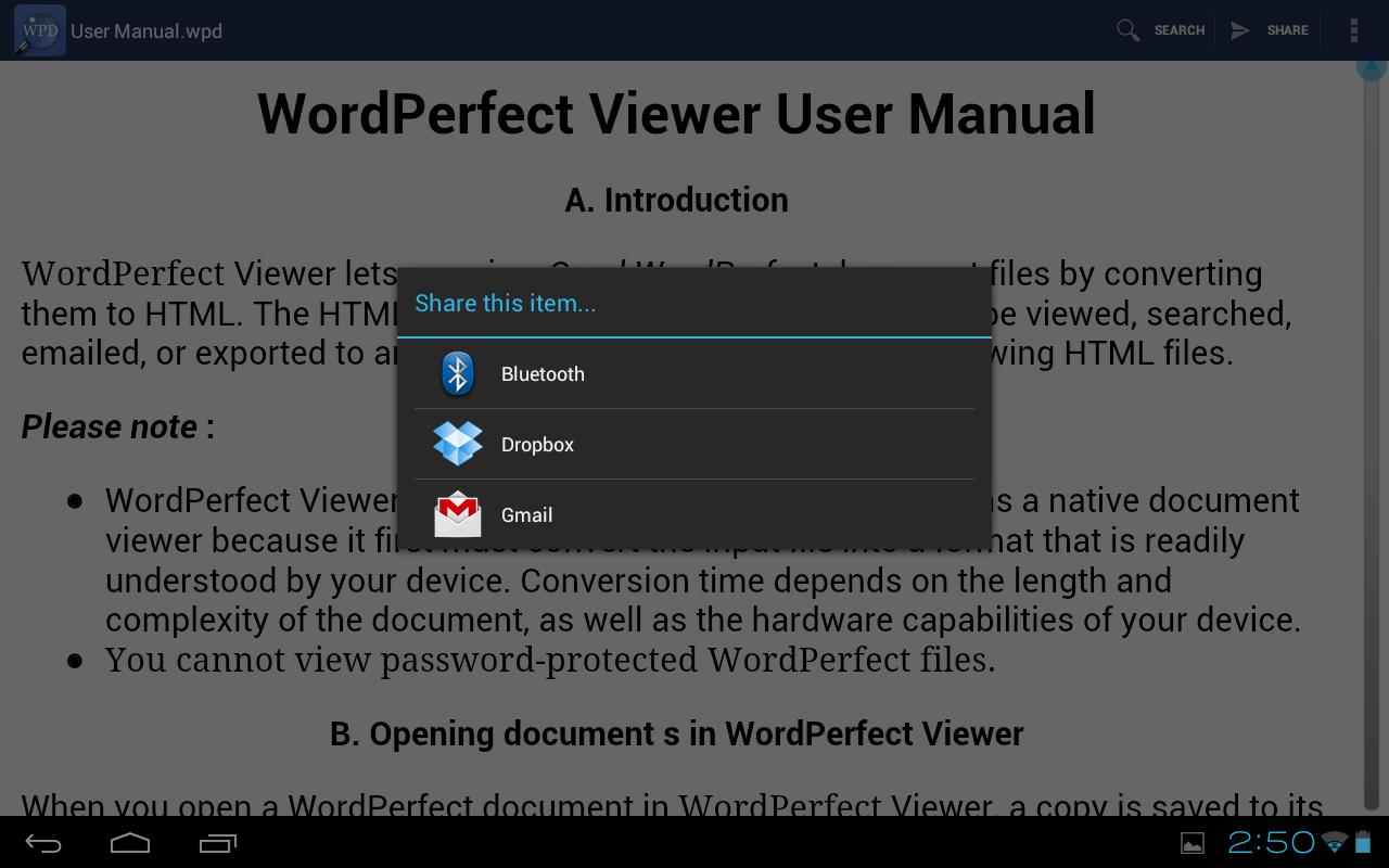 WordPerfect Viewer for Android - screenshot