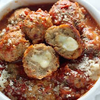 30-Minute Mozzarella Stuffed Turkey Meatballs with Homemade Marinara Sauce.