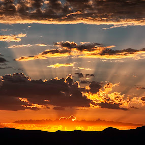 Sunset over Mountains by Johan Jooste Snr - Landscapes Sunsets & Sunrises ( clouds, colourful, sunset, sun-rays, namibia )
