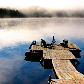 Dock Day by David W Hubbs - Landscapes Waterscapes ( water, blue lake, cottage, lake, blue water, deck, dock, , relax, tranquil, relaxing, tranquility )