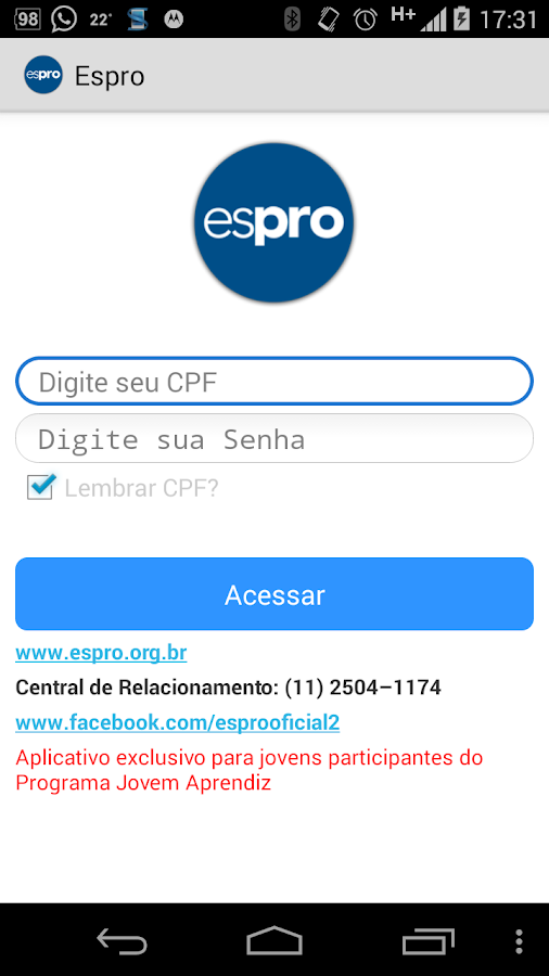 Espro - Canal do Aprendiz: captura de tela