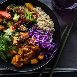 Korean BBQ Tofu Bowls with Stir-Fried Veggies and Quinoa.