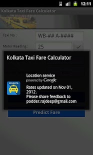 Kolkata Taxi Fare Calculator - screenshot thumbnail