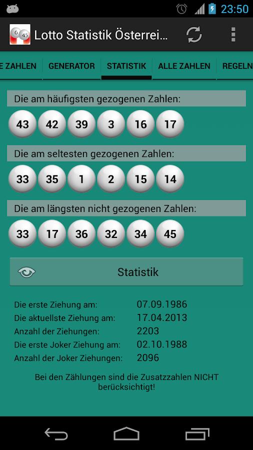 Lotto Statistik Österreich - screenshot