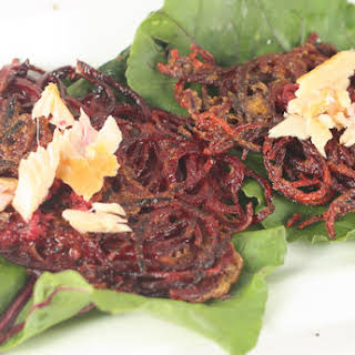 Beet Latkes with Horseradish and Smoked Fish.
